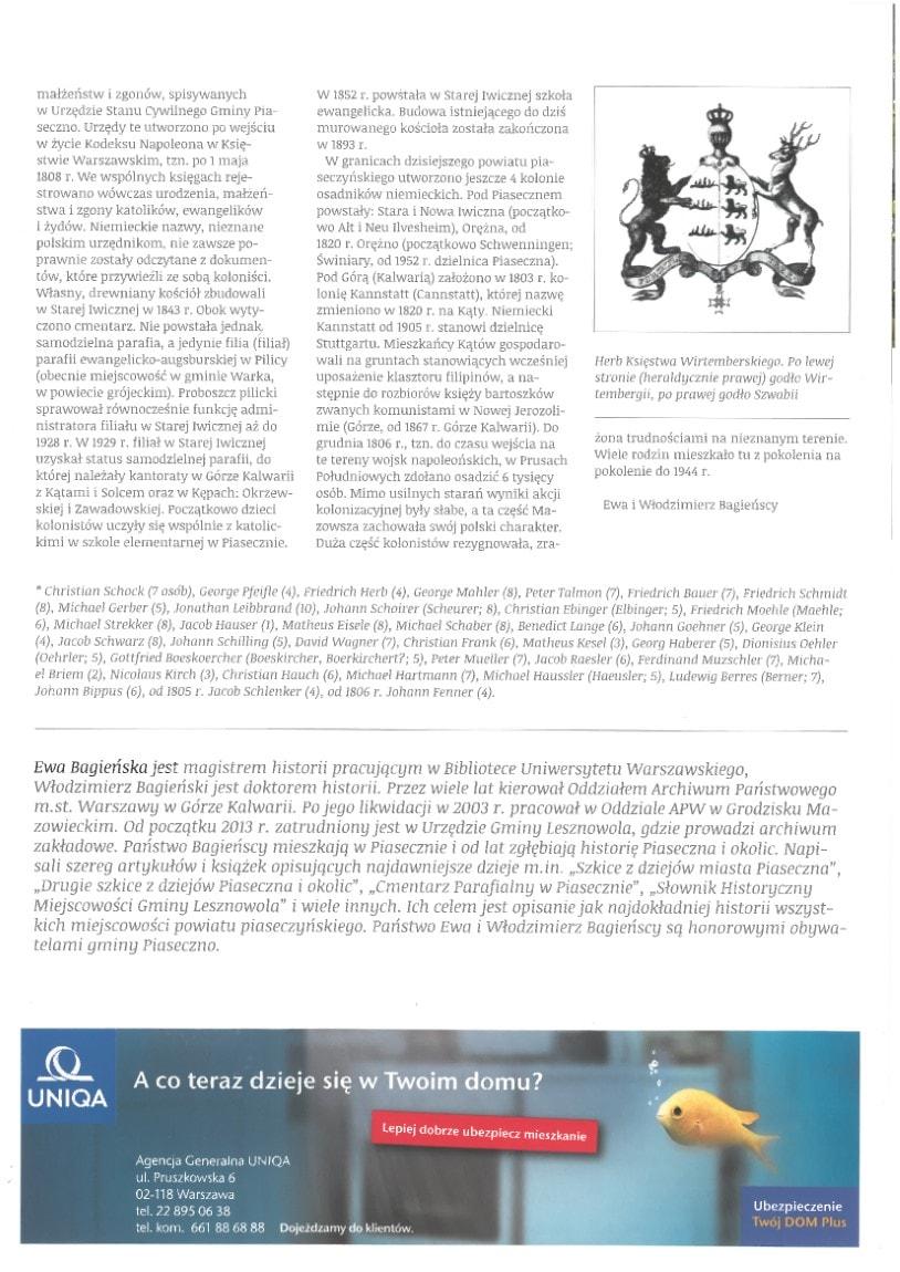 """Józefosław – dawna kolonia niemiecka, cz.1, artykuł Ewy iWłodzimierza Bagieńskich, Magazyn """"Sąsiedzi"""", nr8, maj 2014"""