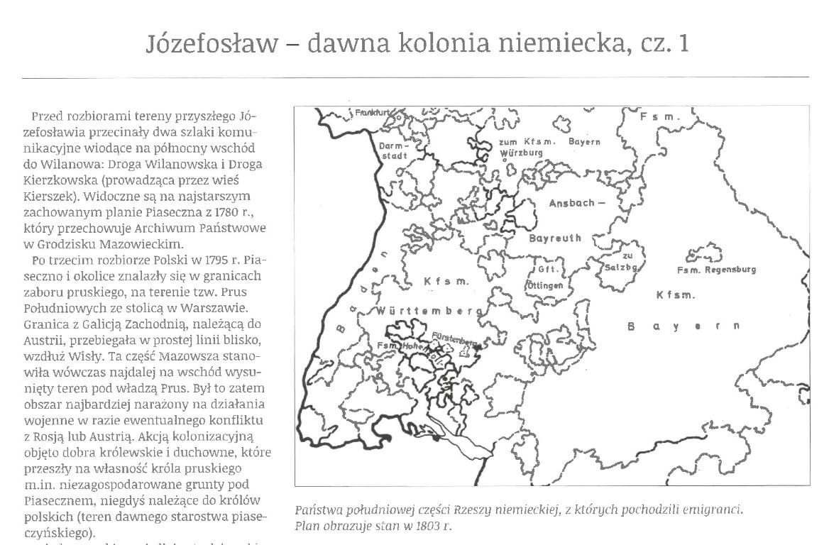 """Józefosław – dawna kolonia niemiecka, cz. 1, artykuł Ewy i Włodzimierza Bagieńskich, Magazyn """"Sąsiedzi"""", nr 8, maj 2014"""