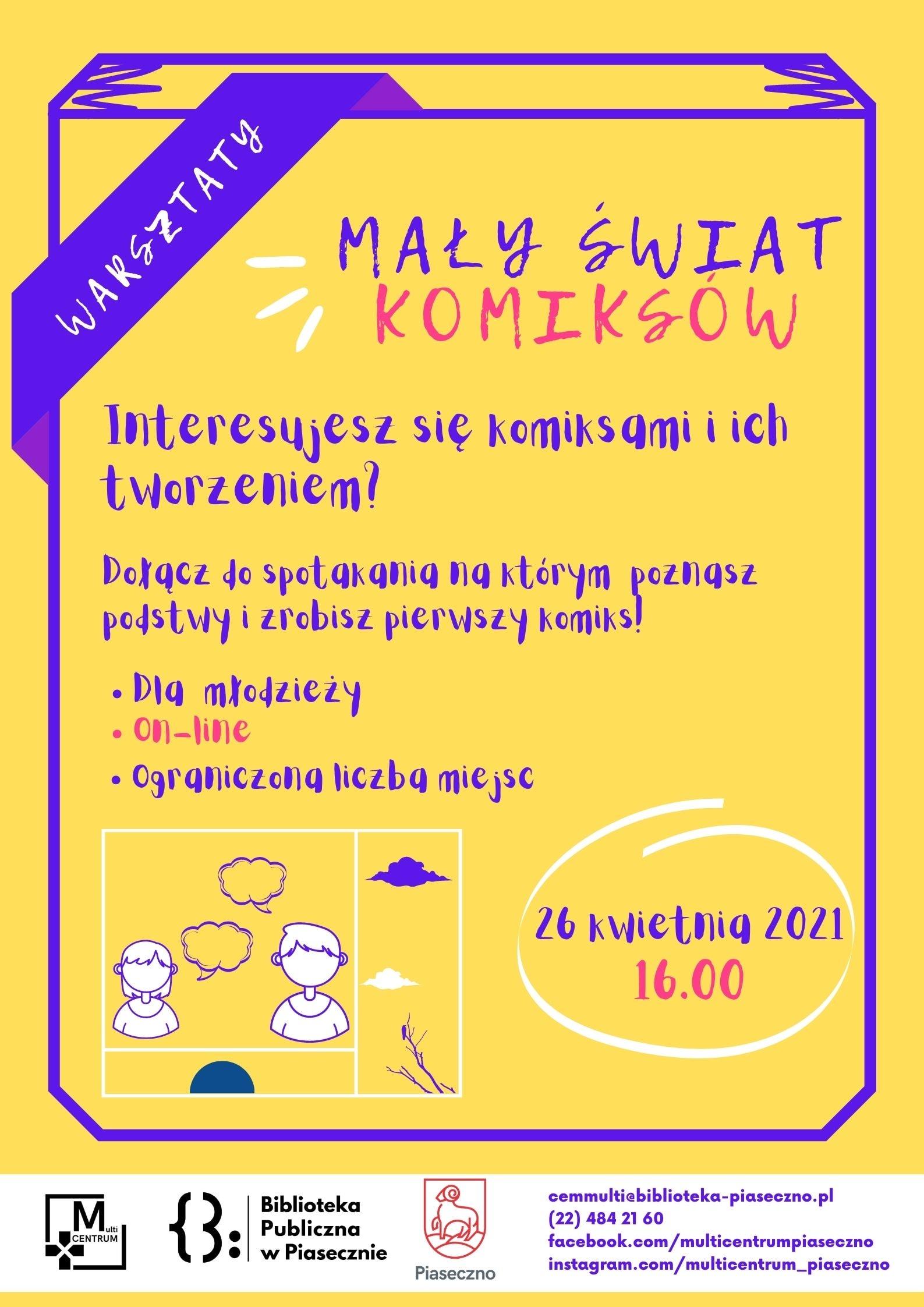 Plakat zachęcający do udziału w warsztatach komiksowych
