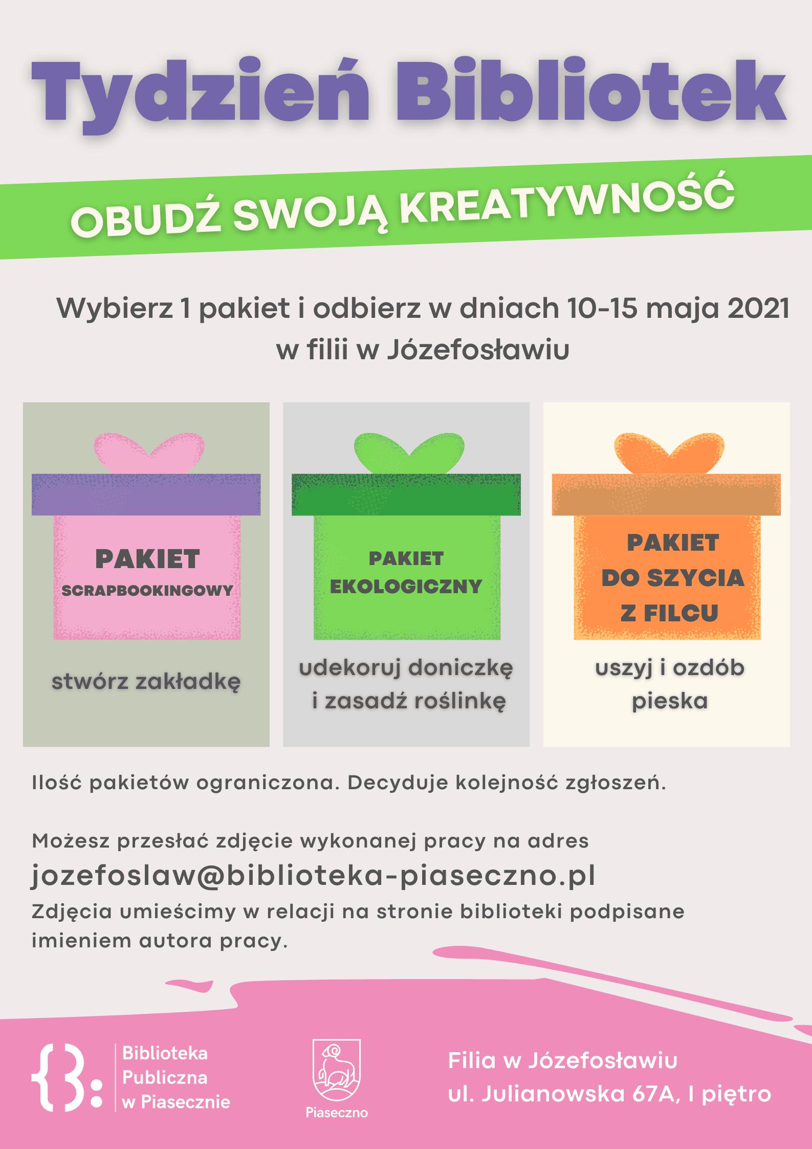 Plakat promujący Tydzień Bibliotek i akcję Obudź swoją kreatywność