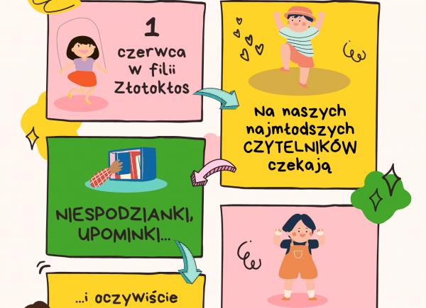 Kolorowy plakat o wydarzeniu w filii Złotokłos na Dzień dziecka