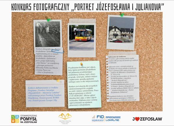 """Plakat promujący konkurs fotograficzny """"Portret Józefosławia i Julianowa"""""""
