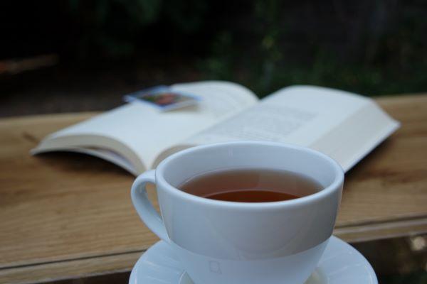 Herbata Sencha wfiliżance nastoliku wogrodzie, wtle otwarta książka
