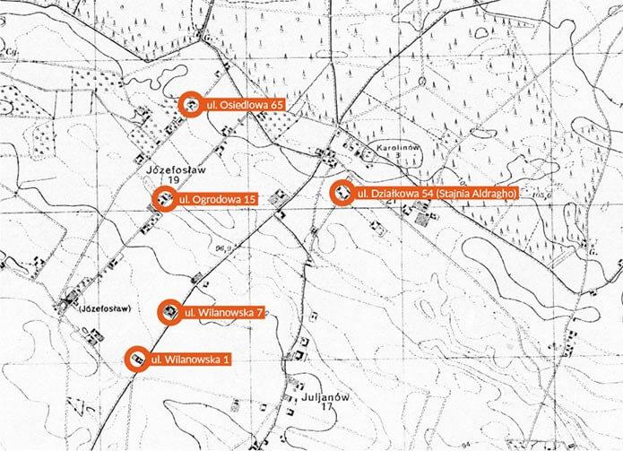 Mapa Józefosławia z1931 r. zistniejącymi dodziś poniemieckimi domami