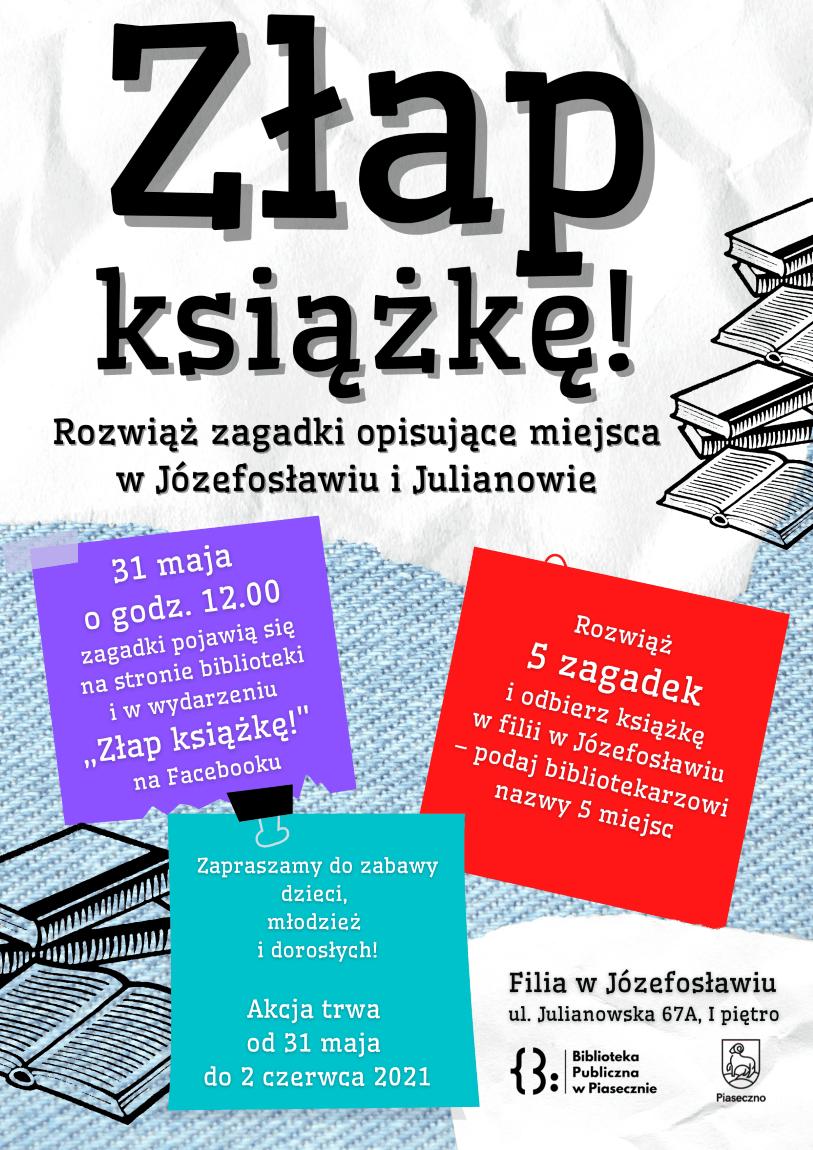 Plakat promujący akcję Złap książkę!