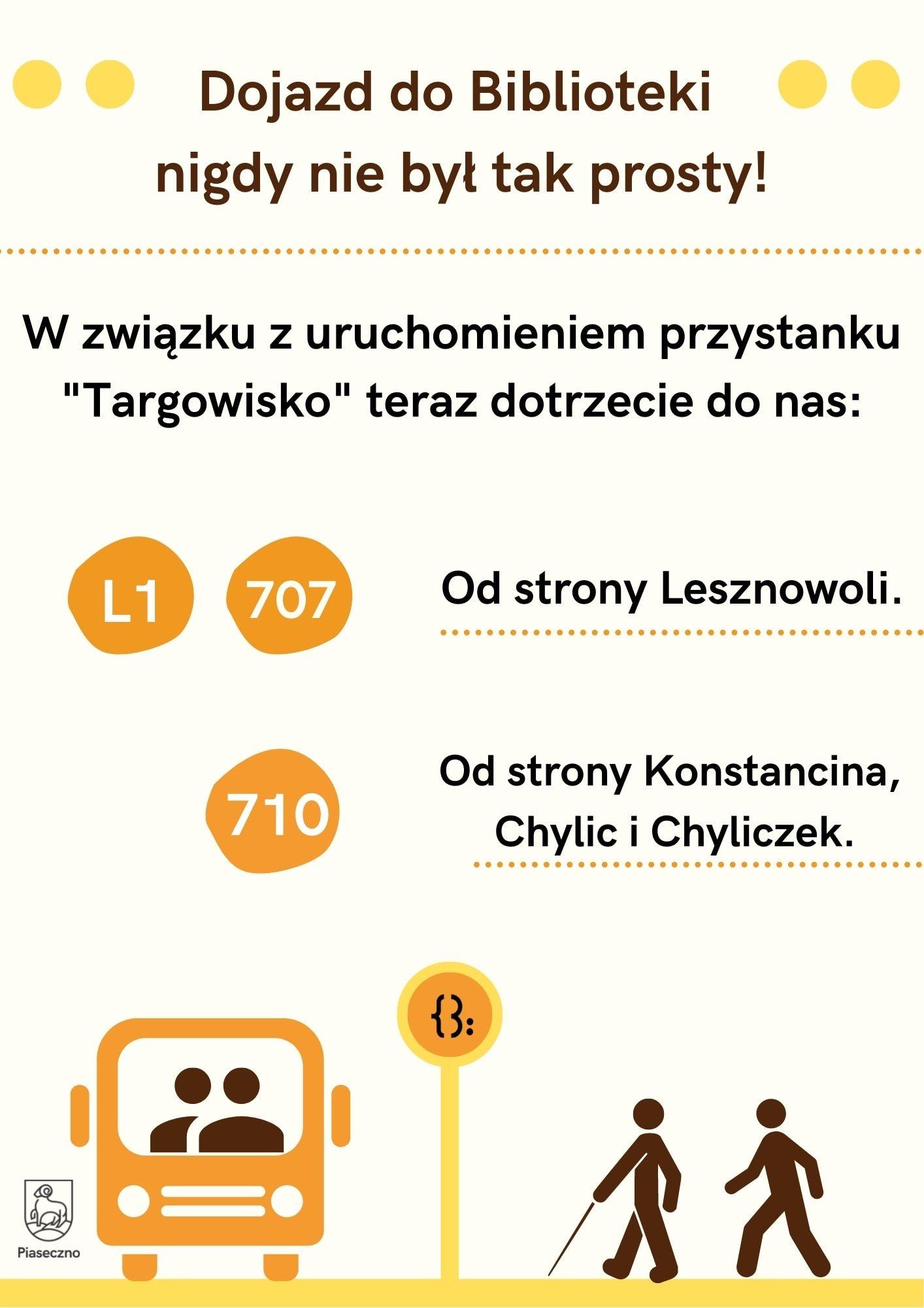 Plakat informujący o nowym przystanku koło Biblioteki Głównej w Piasecznie. Linie 707, L1 ii 710 dojeżdżają do targowiska.