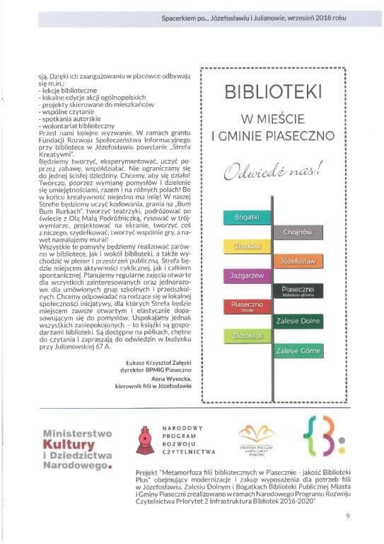 Broszura Spacerkiem poJózefosławiu IJulianowie, wrzesień 2018
