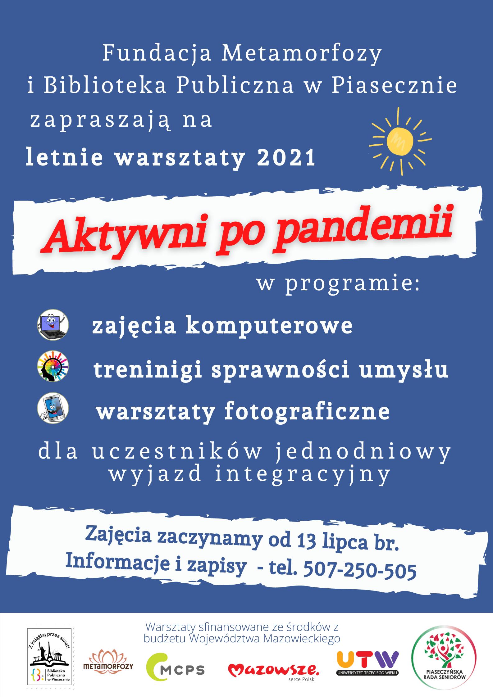 Plakat Aktywni Po Pandemii - zajęcia dla seniorów