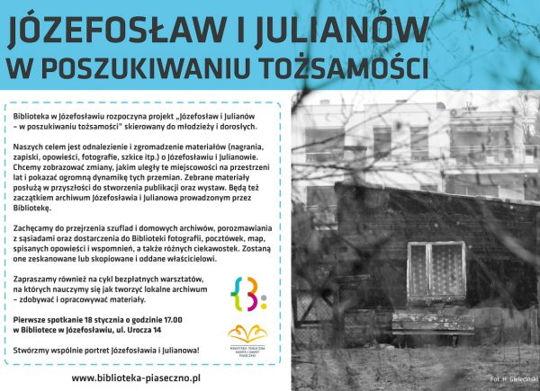 """Plakat promujący projekt """"Józefosław i Julianów – w poszukiwaniu tożsamości"""""""