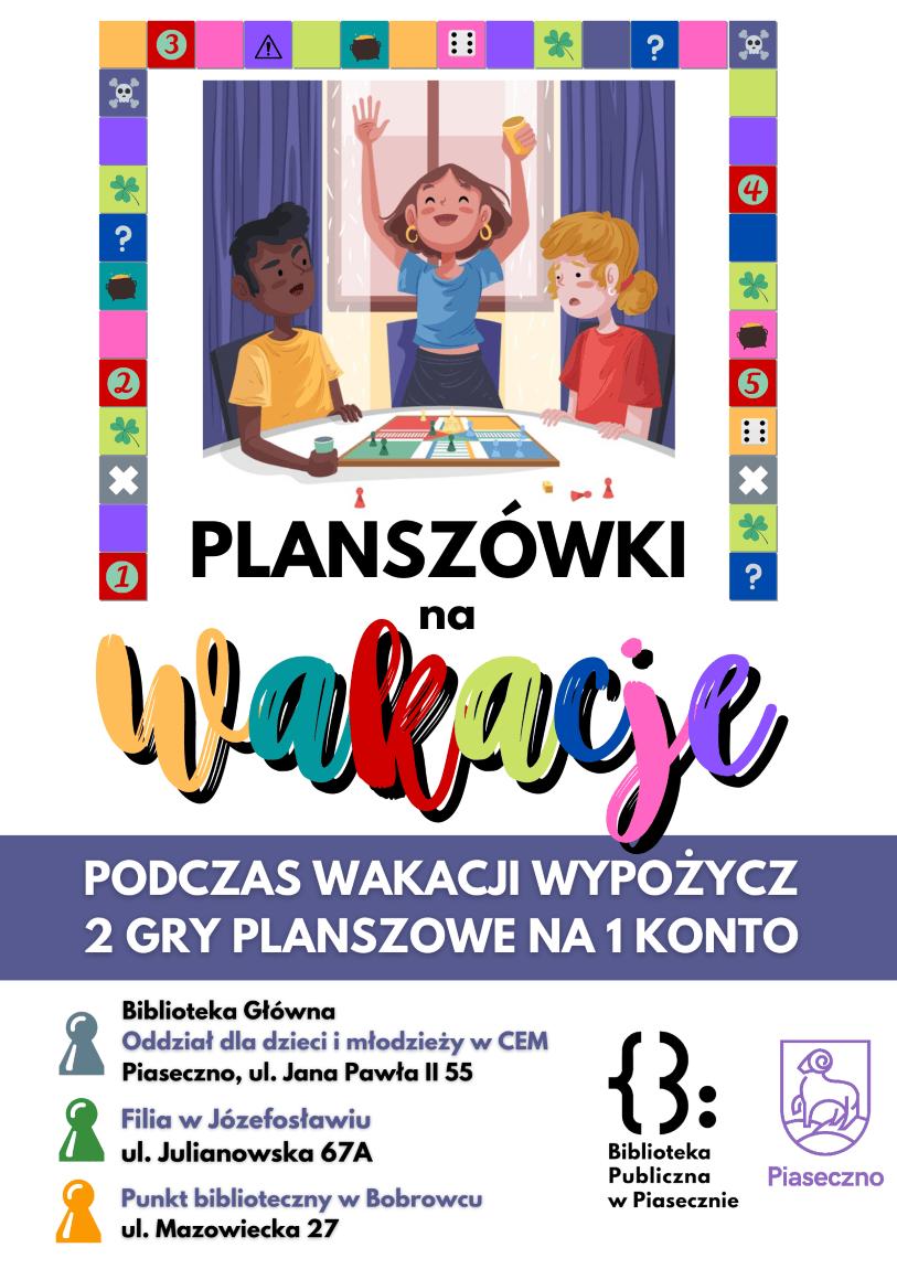 Plakat promujący planszówki na wakacje
