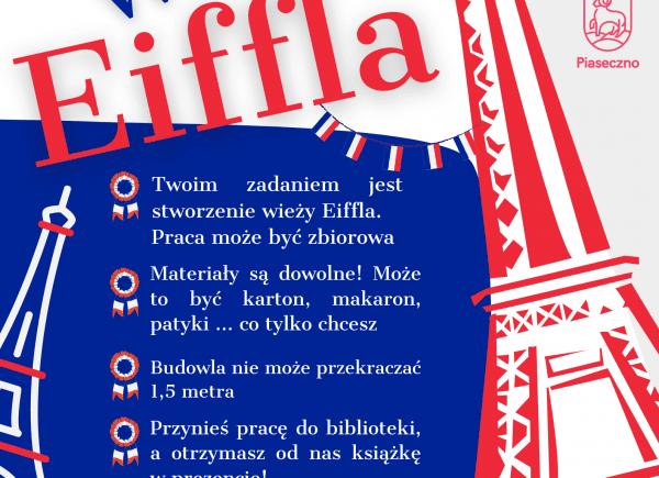 Plakat promujący akcję Stwórz wieżę Eiffla