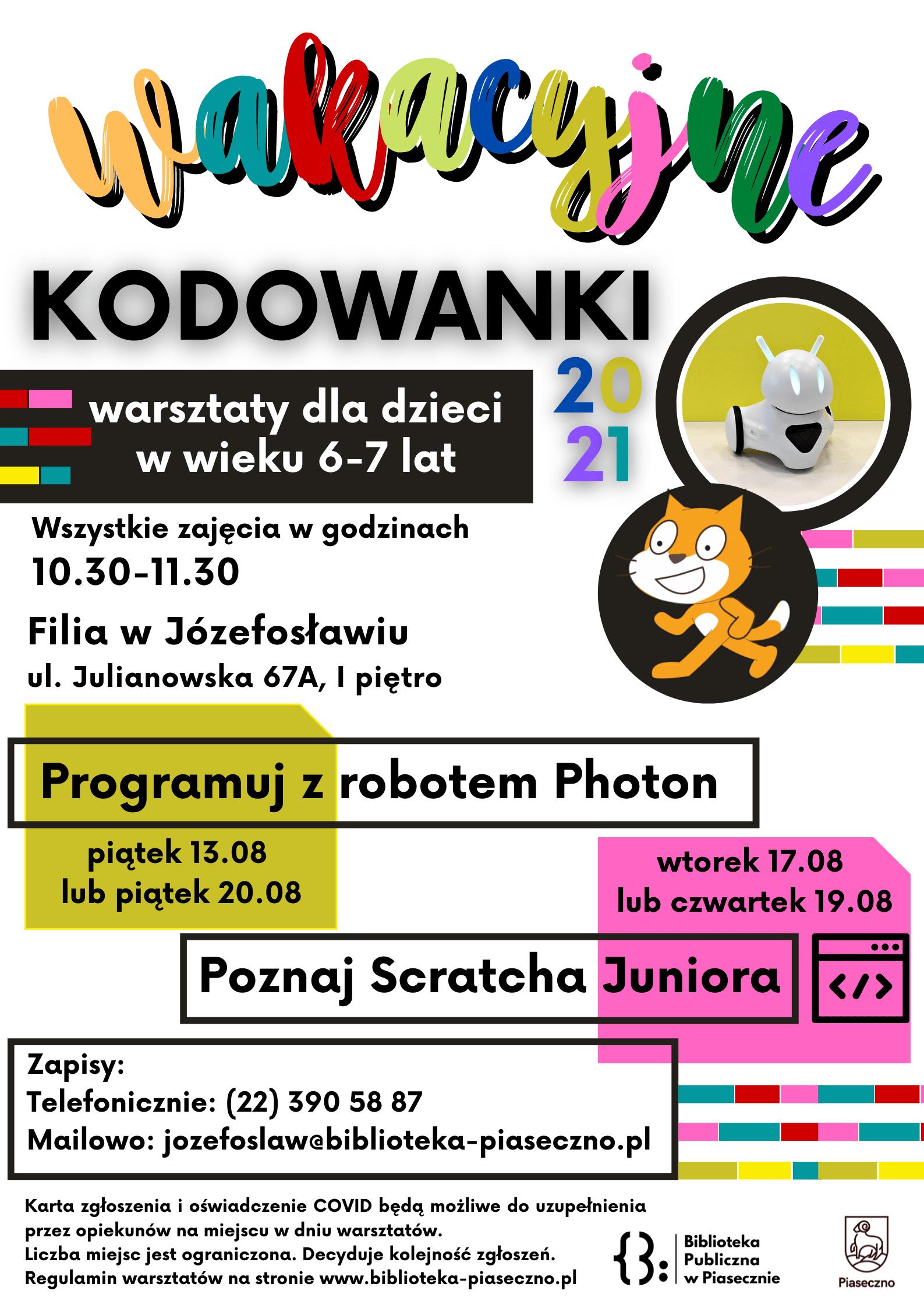 Plakat promujący warsztaty Wakacyjne Kodowanki 2021