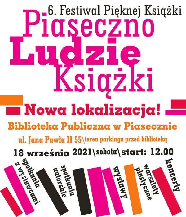 6. Festiwal Pięknej Książki 18.09.2021 wnowej lokalizacji - plakat