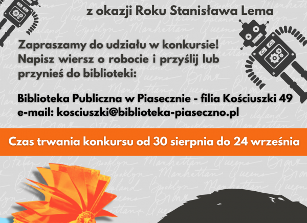 Plakat reklamujący konkurs literacki pt. Robostrofy