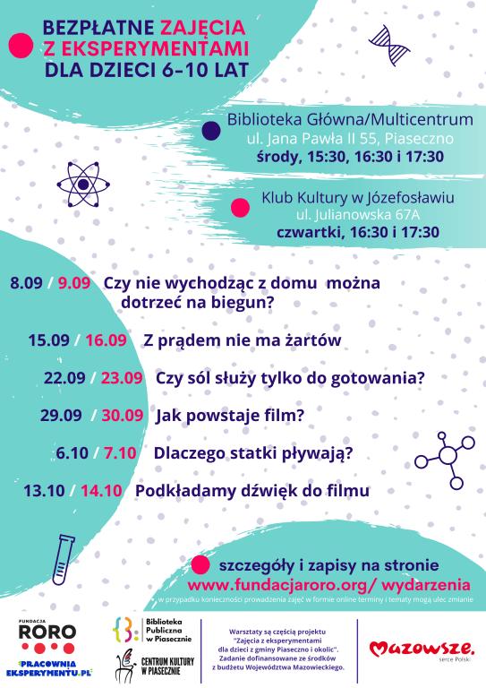 Plakat promujący zajęcia z eksperymentami