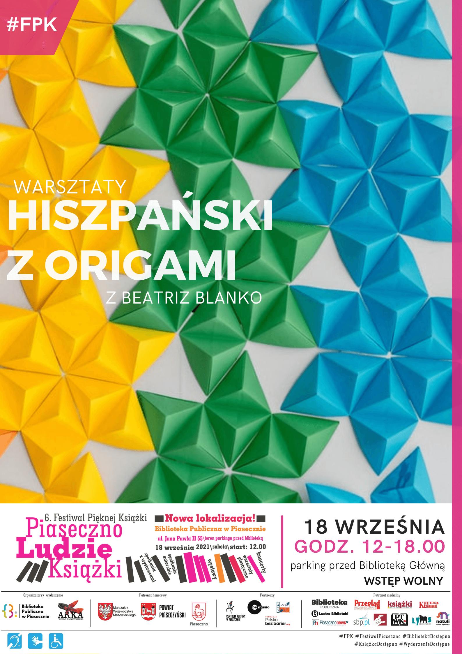 Plakat promujący warsztaty origami w ramach Festiwalu Pięknej Książki.