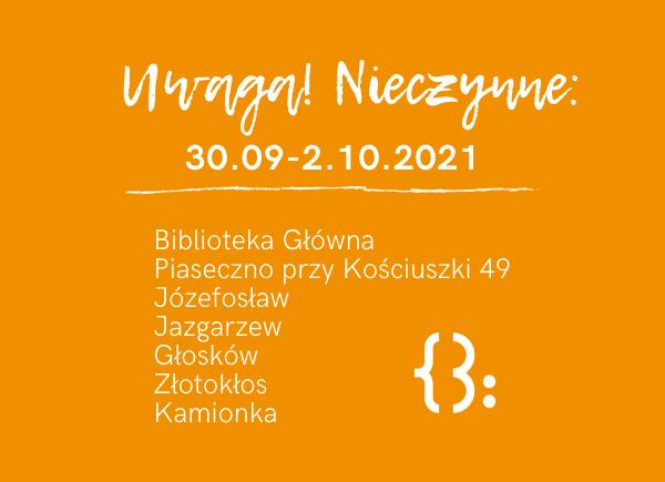 Zamknięcia placówek w dniach od 30.09. do 2.10.