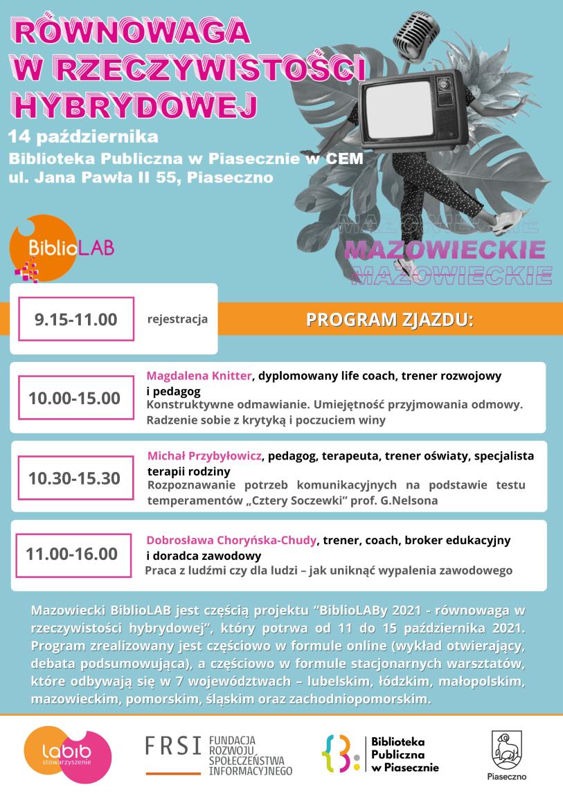 Plakat promujący Mazowiecki BiblioLAB 2021