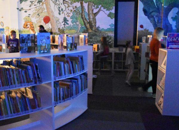 Na zdjęciu widać regały zksiążkami. Wtle można dostrzec dziewczynkę. Pomieszczenie jest oświetlone naniebiesko.