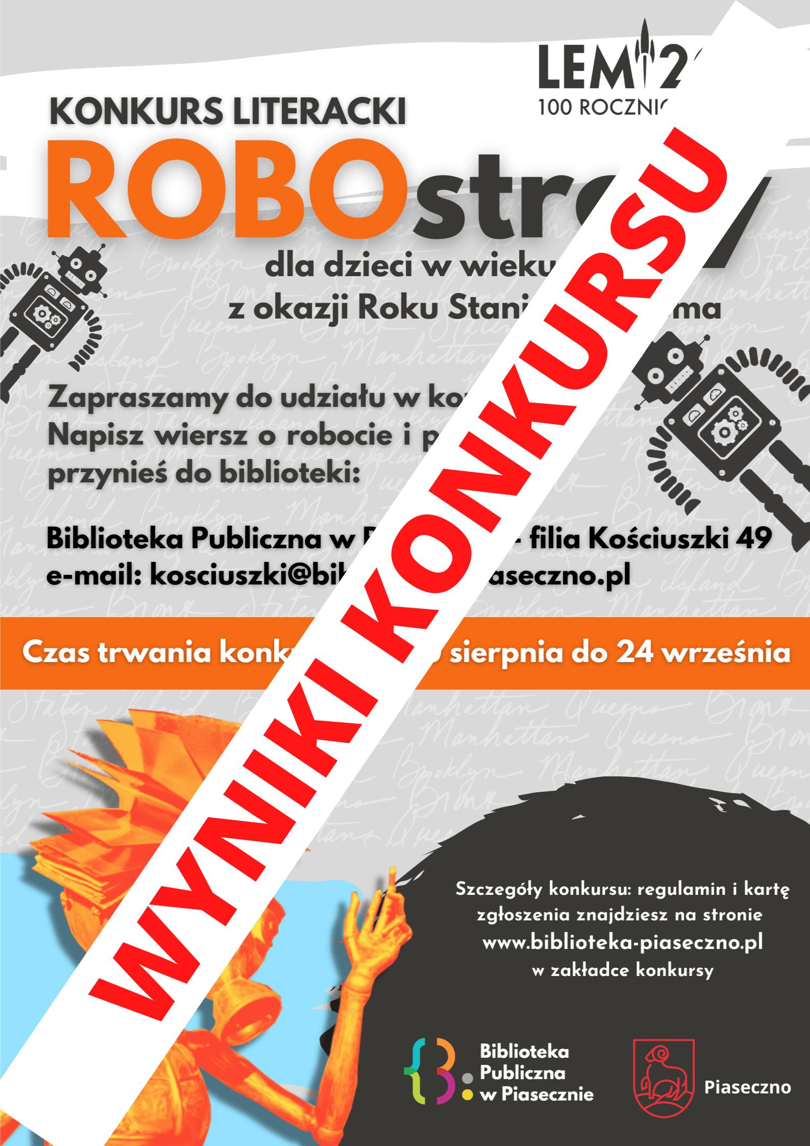 Wyniki konkursu literackiego ROBOstrofy