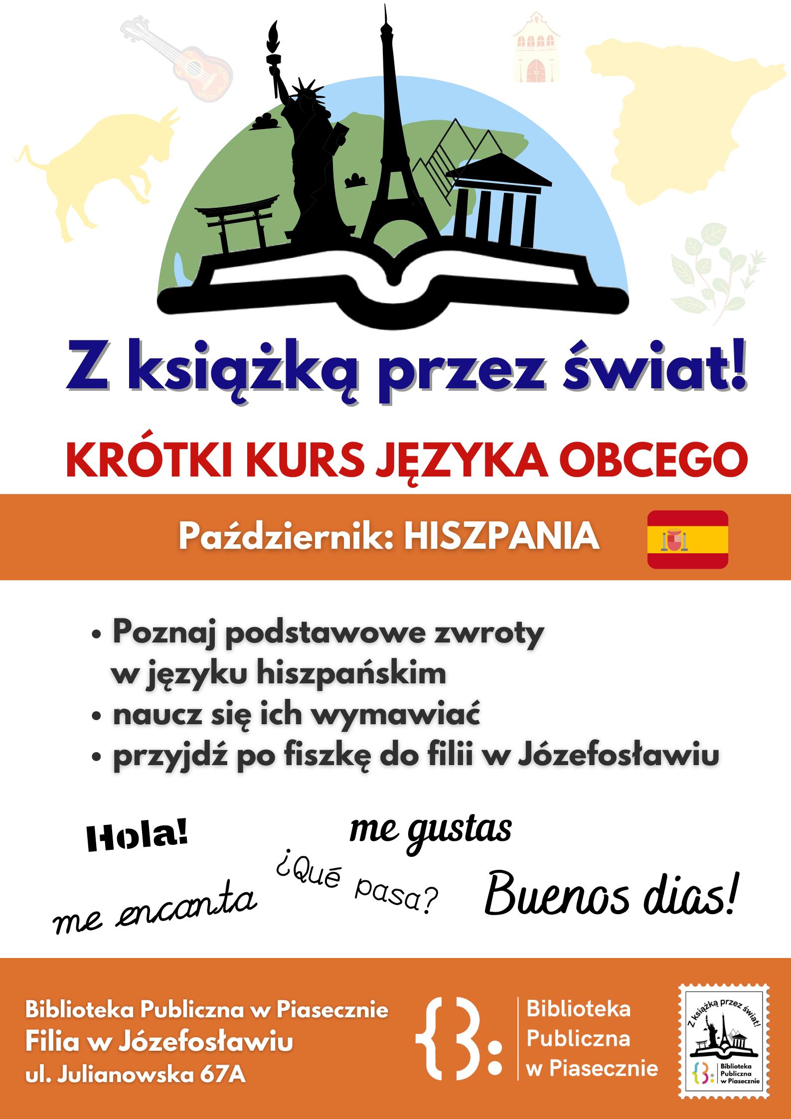 Plakat promujący naukę języka hiszpańskiego