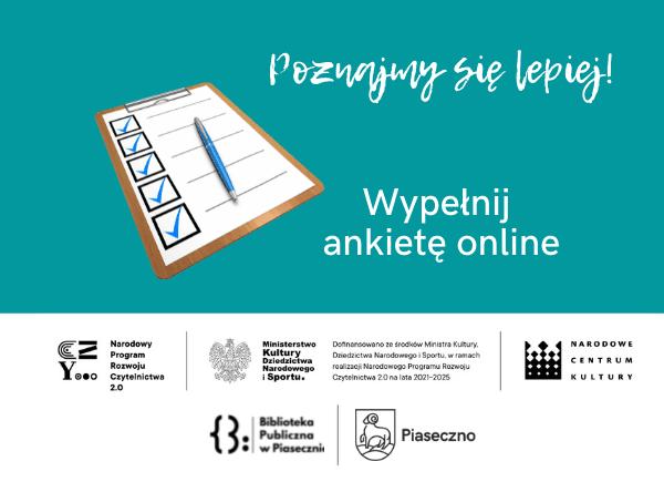 Ankieta online - informacja o badaniu opinii o ofercie biblioteki