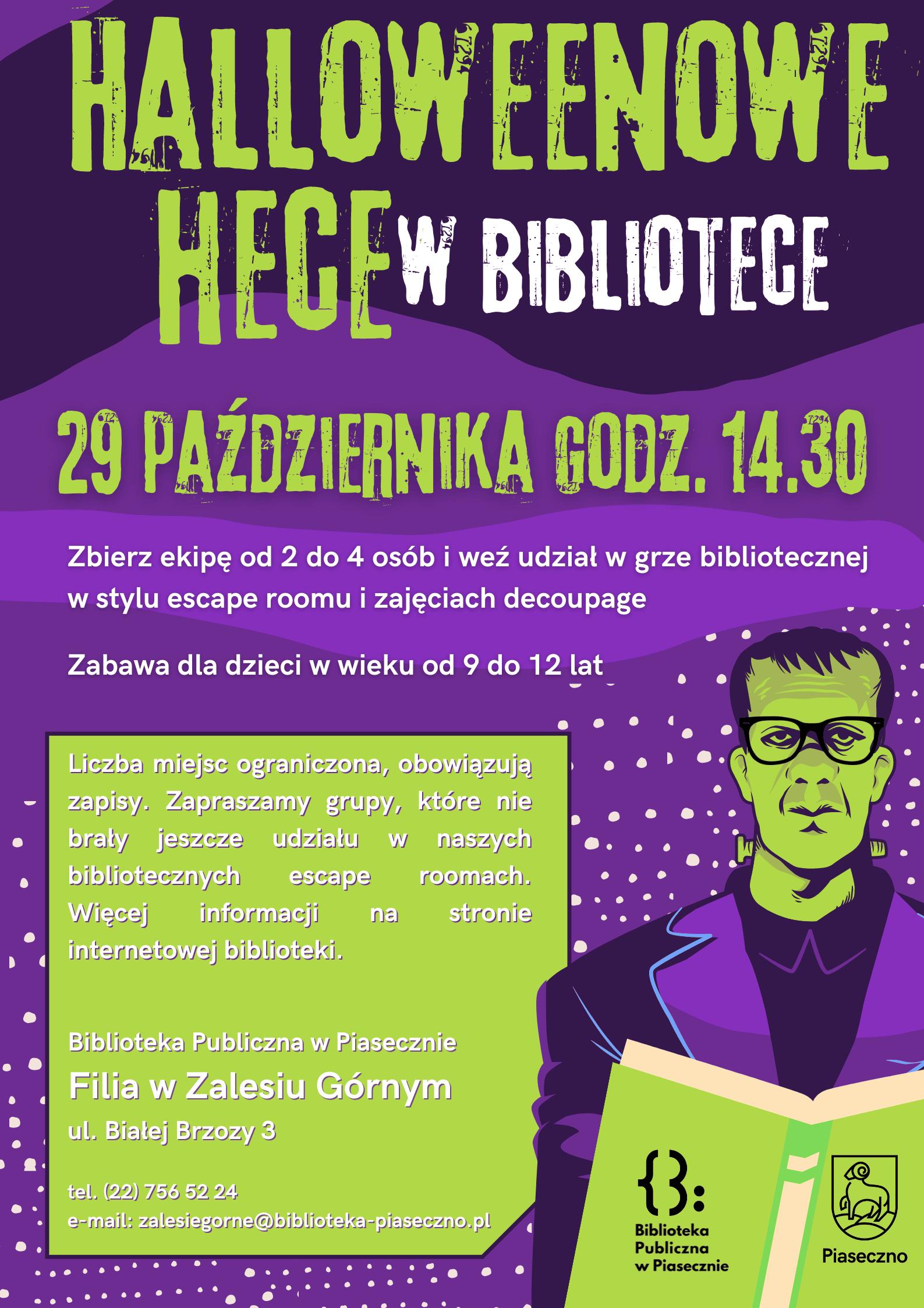 Fioletowo-zielony plakat dotyczacy wydarzenia dla dzieci