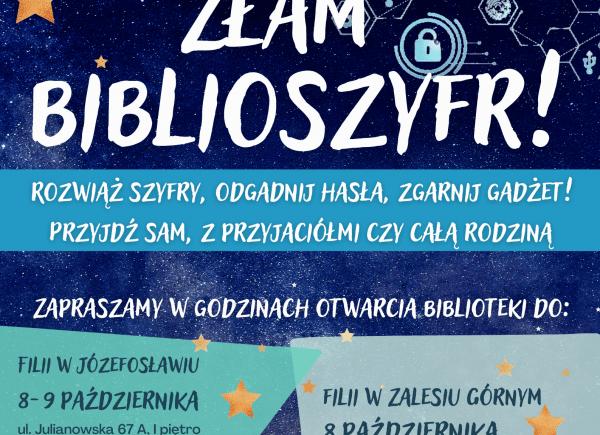 """Plakat dotyczący wydarzenia """"Złam biblioszyfr"""""""
